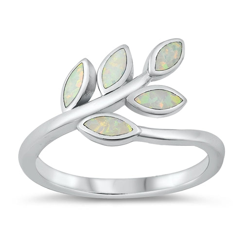 925 Sterling Silver Maile Leaves Ring With Opal Design