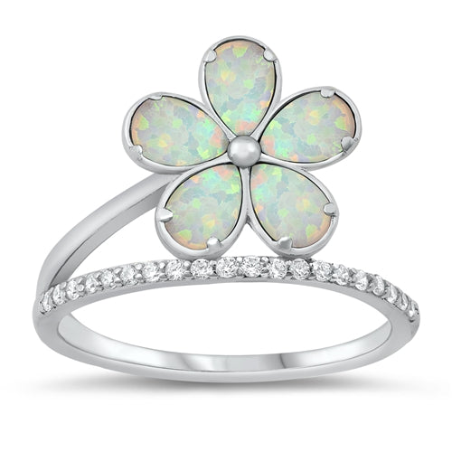 925 Sterling Silver Opal Plumeria Ring