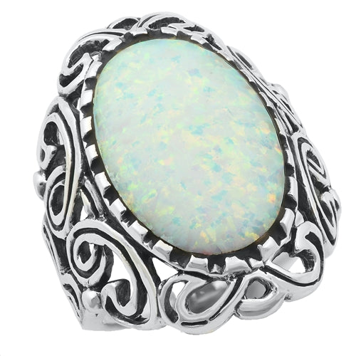 925 Sterling Silver 31mm Filigree Ring With Opal.