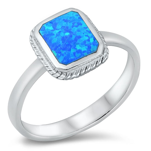 925 Sterling Silver Rectangle Opal Ring