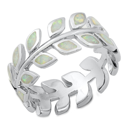 925 Sterling Silver Maile Lei Ring With Opal Inlay