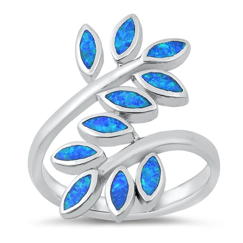 925 Sterling Silver Maile Leaves Ring With Opal Inlay - 26mm