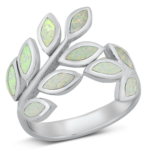 925 Sterling Silver Branches of Leaves Ring With Opal Inlay