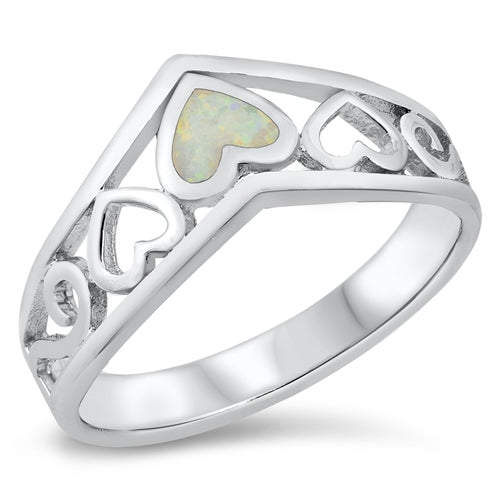 925 Sterling Silver V Ring With Opal Hearts