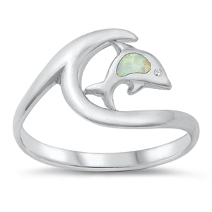 925 Sterling Silver Wave Ring With Dolphin
