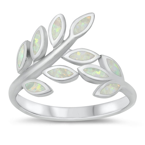925 Sterling Silver Maile Leaves Ring With Opal Inlay - 14mm