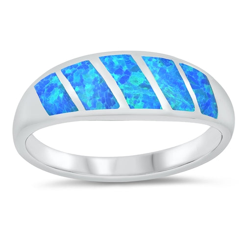 925 Sterling Silver Opal Ring - 7MM Tapered
