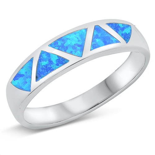 925 Sterling Silver Opal Band With Triangular Design