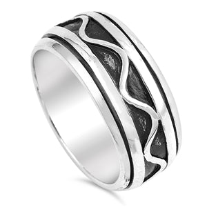 925 Sterling Silver Spinner Ring - Wave