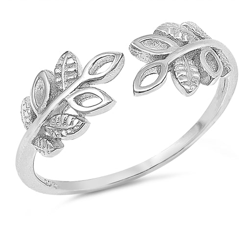 925 Sterling Silver Leaves Ring With CZs