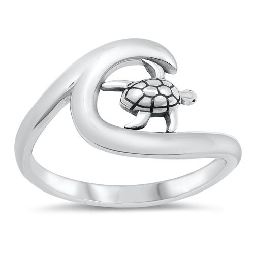 925 Sterling Silver Wave Ring - With Dolphin, Turtle