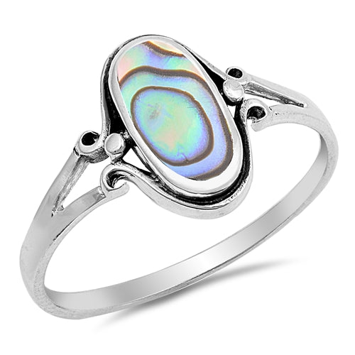 925 Sterling Silver Ring With Abalone Inlay