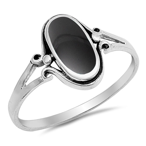 925 Sterling Silver Ring With Black Onyx Inlay