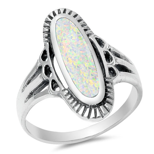 925 Sterling Silver Elongated Ring With Opal, Turquoise Or Abalone Shell