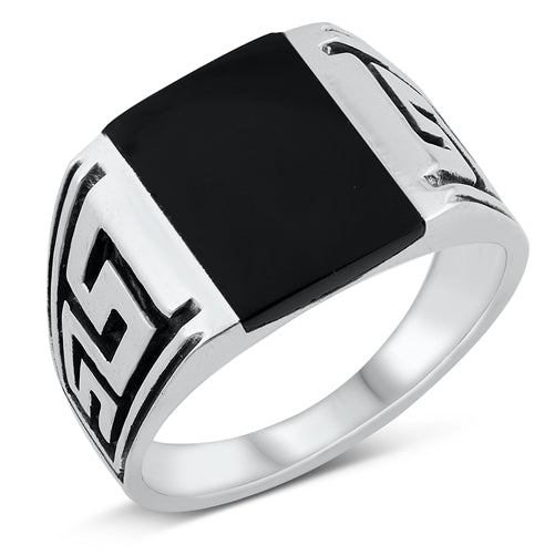 925 Sterling Silver Black Onyx Men's Ring