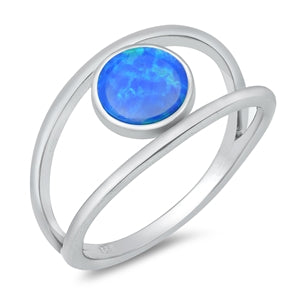 925 Sterling Silver Ring With Blue Opal - Round
