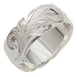 925 Sterling Silver Hand Carved Hawaiian Princess Scroll Ring - 8mm