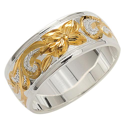 925 Sterling Silver Hand Carved Hawaiian Heirloom Scroll Ring - 8mm 2 Tones