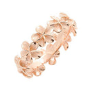 925 Sterling Silver Plumeria Eternity Ring With Rose Gold Plated - 8mm Band