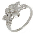 925 Sterling Silver Plumeria Ring With Leaves