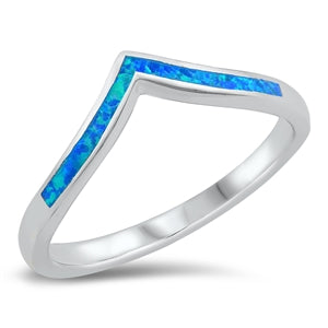 925 Sterling Silver V Shape Ring With Blue Opal Inlay