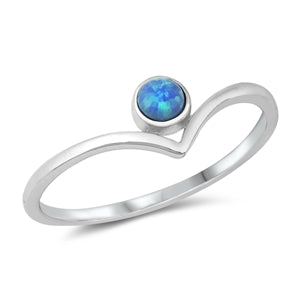 925 Sterling Silver V ring with blue opal
