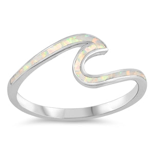 925 Silver Wave Ring With Opal Inlay