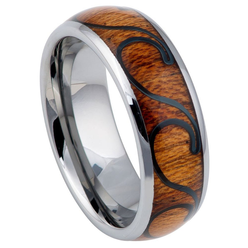 Tungsten Carbide Ring With Natural Koa Wood Inlay - With Waves