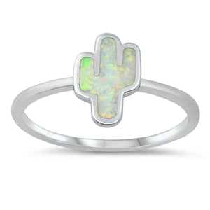925 Sterling Silver Cactus Ring With Created Opal