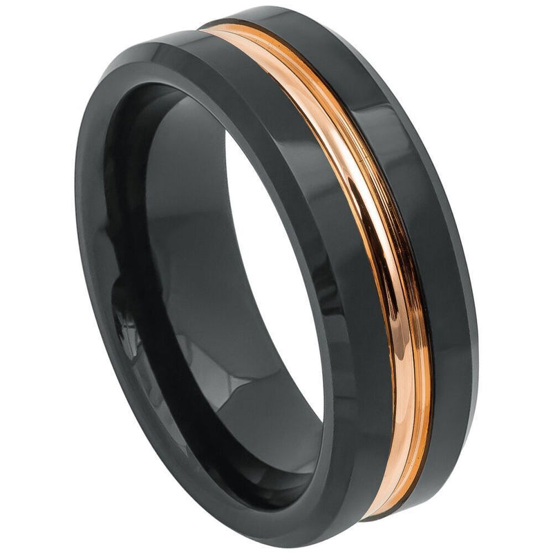 Scratch Free Tungsten Carbide Ring - 8mm Black Rhodium Plated