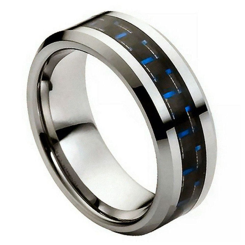 Scratch Free Tungsten Carbide Ring With Carbon Fiber Inlay - 8mm
