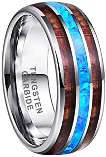 Tungsten Carbide With Koad Wood & Opal Inlay Ring