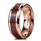 Tungsten Carbide Ring With Koa Wood Inlay & Rose Gold Overlay