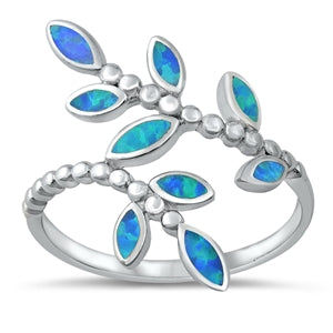 925 Sterling Silver Branch of Leaves Ring With Blue Opal Inlay