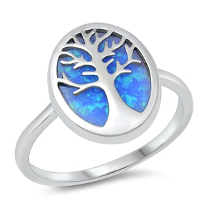 925 Sterling Silver Tree of Life Ring With Blue Opal Inlay