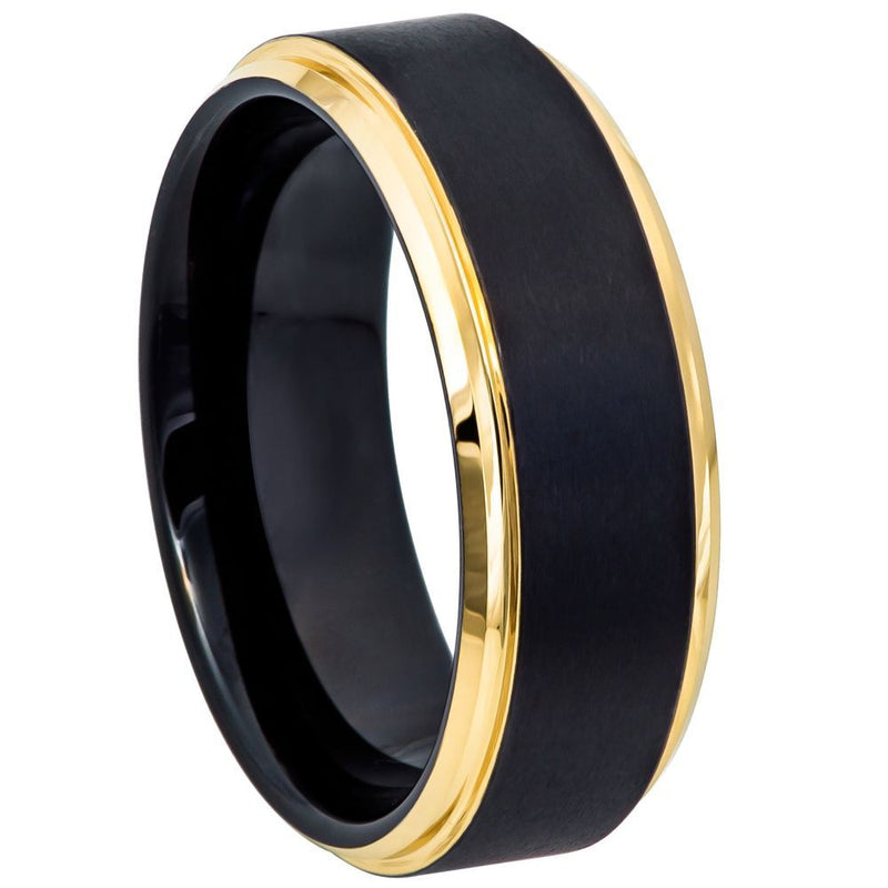 Scratch Free Tungsten Carbide Ring - 8mm Step Edge Band