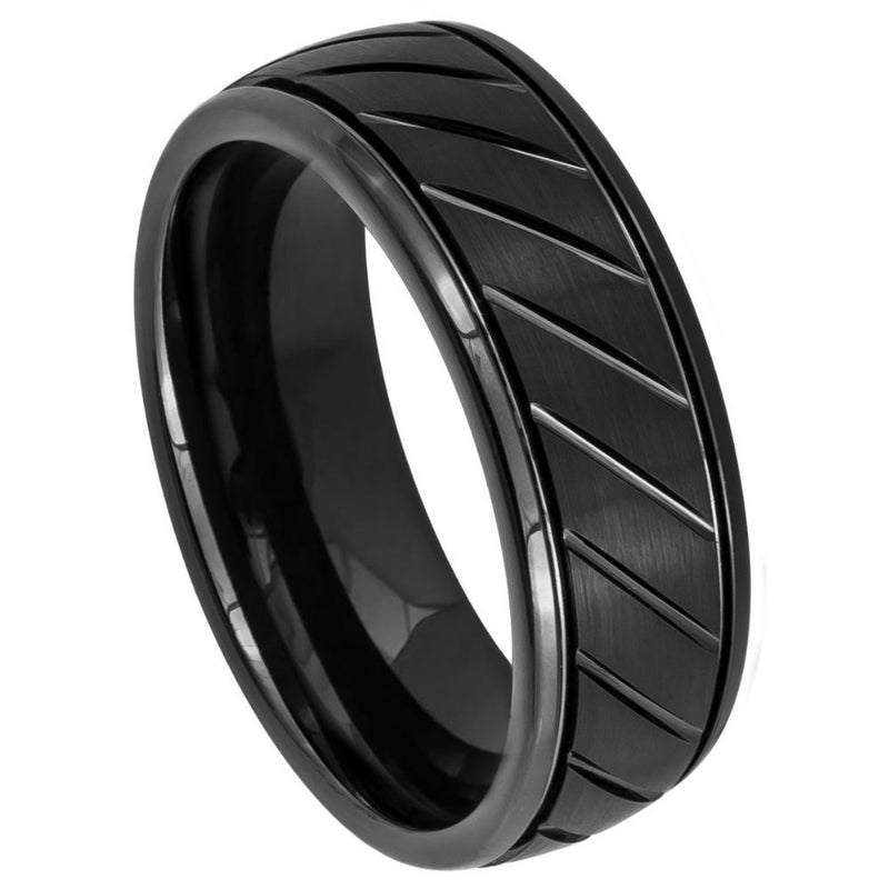 Scratch Free Tungsten Carbide Rings - 8mm Black Rhodium Plated
