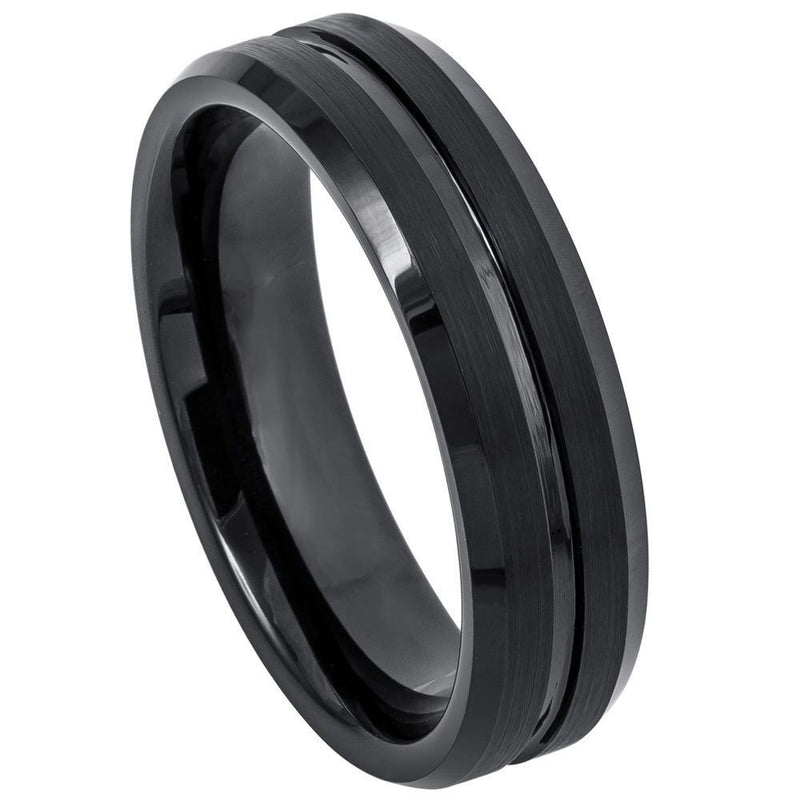 Scratch Free Tungsten Carbide Rings - 6mm Black Rhodium Plated