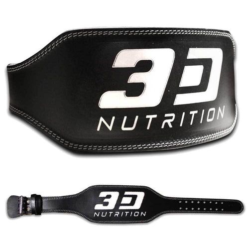 Belt 3D Nutrition Weight Lifting Leather Belt [Black] - Chrome Supplements and Accessories