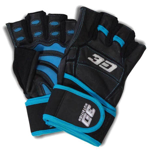 Gloves 3D Nutrition Hardcore XT Lifting Gloves - With Straps [Black] - Chrome Supplements and Accessories