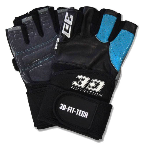Gloves 3D Nutrition Performance Gloves - With Straps [Black] - Chrome Supplements and Accessories