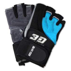 Gloves 3D Nutrition Pro Lifting Gloves - With Straps [Black] - Chrome Supplements and Accessories