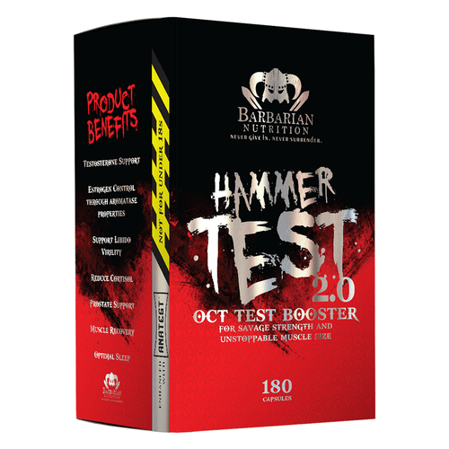 Testosterone Booster Barbarian Nutrition Hammer Test 2.0 [180 Caps] - Chrome Supplements and Accessories