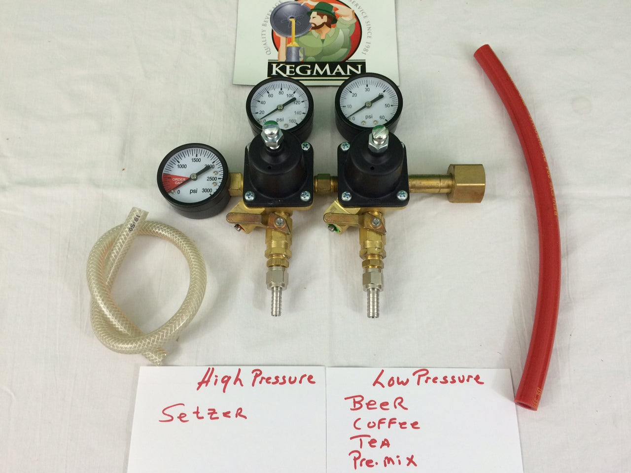 Two Pressure Seltzer and Beer Gas Regulator