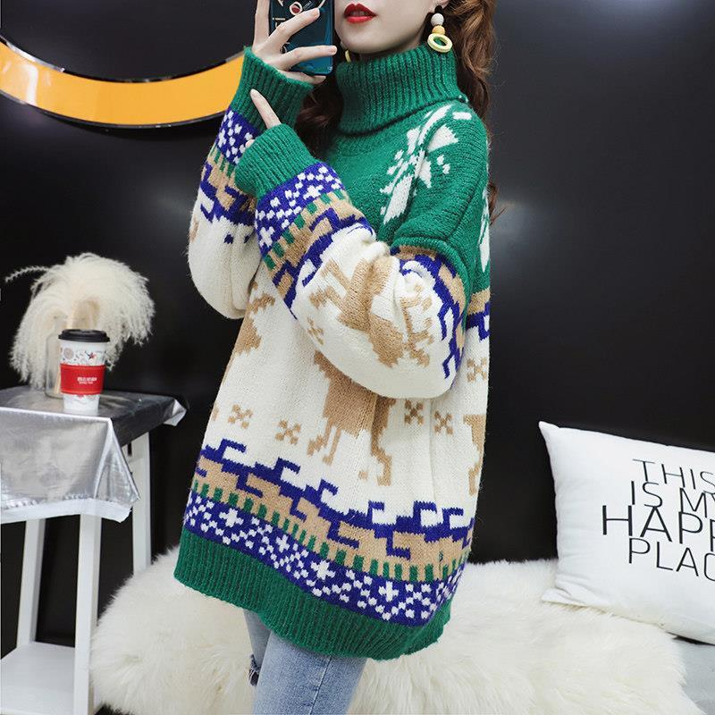 christmas snowflake Elk lazy style thickened sweater women