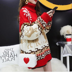 Open image in slideshow, christmas snowflake Elk lazy style thickened sweater women