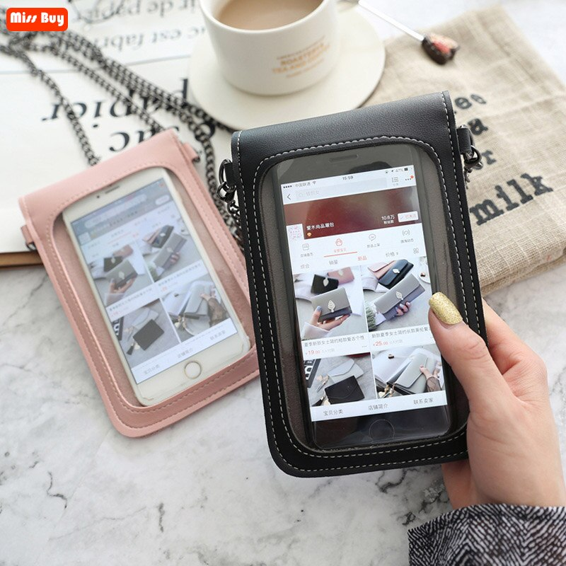 Leather Phone Bag For Touch Screen