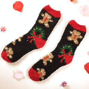 Open image in slideshow, Christmas coral fleece socks