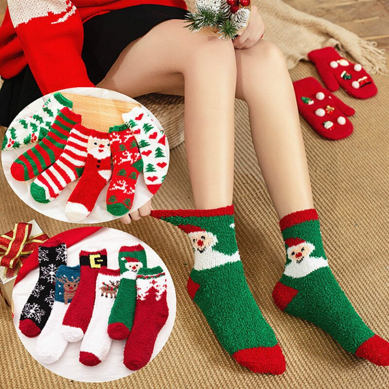 Christmas coral fleece socks