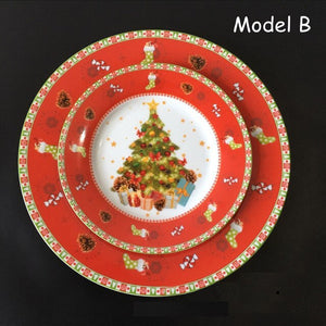 Open image in slideshow, Ceramic 8 inch 10 inch christmas round dinner set